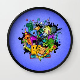 Hand-drawn little funny monsters Wall Clock