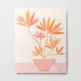 Bonsai Ramen II / Simple Botanical in Pink and Orange Metal Print