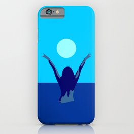 Blue sky and moon is calling me.. iPhone Case