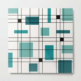 1950's Abstract Art Teal Metal Print