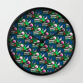 Rhino in blue Wall Clock