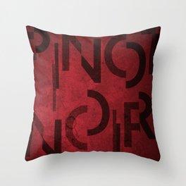 Pinot Noir Wine Typography Throw Pillow
