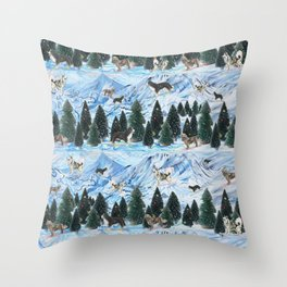 Dogs Skiing - Mountain Resort Scene with Bernese Mountain Dogs, Golden Retrievers, and Malamutes Throw Pillow