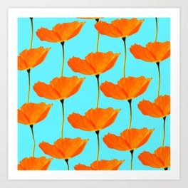 Poppies On A Turquoise Background #decor #society6 #buyart Art Print