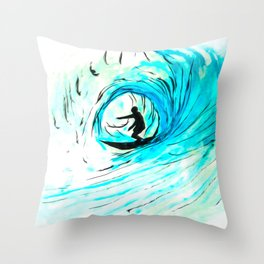 Lone Surfer Tubing the Big Blue Wave Throw Pillow