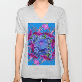 Purple & Pink Morning Glories Blue Pattern Art Unisex V-Neck
