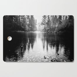 Forest Reflection Lake - Black and White  - Nature Photography Cutting Board