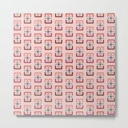 Mid Century Modern Starburst Shells Pink Metal Print