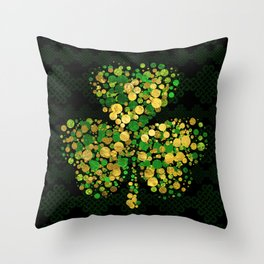 Decorative Irish Shamrock -Clover Gold and Green Throw Pillow