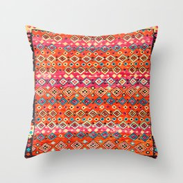 Bohemian Traditional Tropical Moroccan Style Illustration Throw Pillow