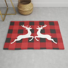 Reindeer's With Cute Red & Black Buffalo Check Christmas/ Buffalo Plaid Rug
