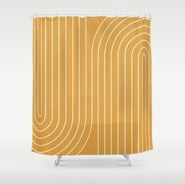 Minimal Line Curvature - Golden Yellow Shower Curtain