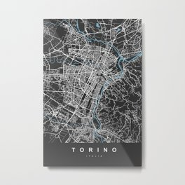 TORINO Map - Italia | Black | More Colors, Review My Collections Metal Print