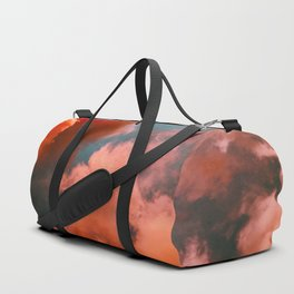 Beautiful Magical Pink Orange Salmon Hue Fluffy Clouds Against A Turquoise Sky Cotton Candy Texture Duffle Bag