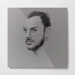 Shannon Leto digital Portrait grey LLFD Metal Print