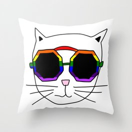 Cat Rainbow Sunglasses Throw Pillow
