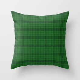 Green Plaid  Throw Pillow