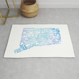 Typographic Connecticut - blue watercolor map Rug