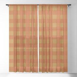 Burnt Orange Gingham  Sheer Curtain