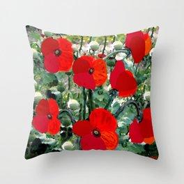 Surreal Poppy Garden Throw Pillow