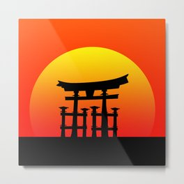 Sunset and Torii in Japan Metal Print