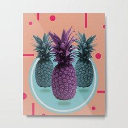 Pineapple Print - Tropical Decor - Botanical Print - Pineapple Wall Art - Brown, Blue - Minimal Metal Print
