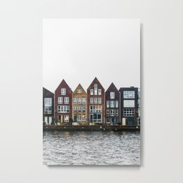 Iconic canal houses near Spaarne river in Haarlem in winter | Haarlem historical city, the Netherlands | Urban travel photography Art Print Metal Print