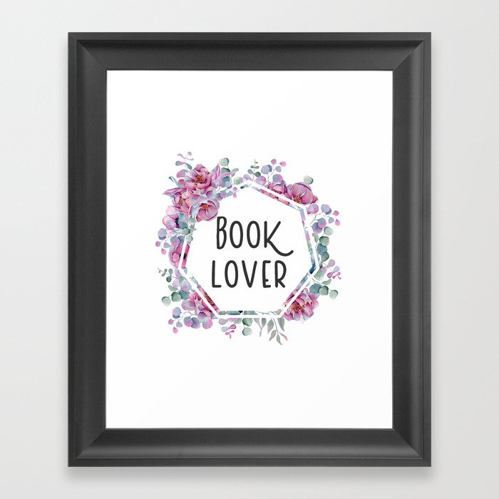 Book Lover - Floral Design Gerahmter Kunstdruck
