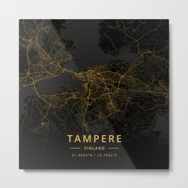 Tampere, Finland - Gold Metal Print