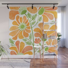 Happy California Poppies / hand drawn flowers Wall Mural