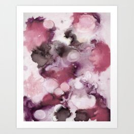 Organic Abstract in shades of plum Art Print