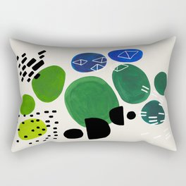 Fun Abstract Minimalist Mid Century Modern Colorful Shapes Lime Green Blue Watercolor Bubbles Rectangular Pillow