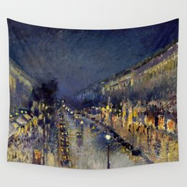 Camille Pissarro - Boulevard Montmartre at Night Wall Tapestry
