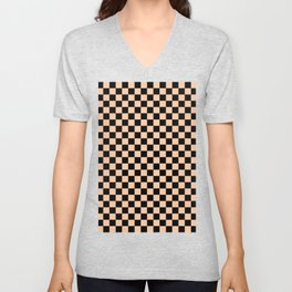 Black and Deep Peach Orange Checkerboard Unisex V-Neck