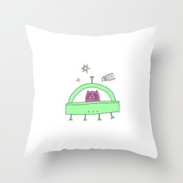 Tumblr Cartoon Cat Witch Cute Funny Alien UFO Space Magic Sticke Throw Pillow