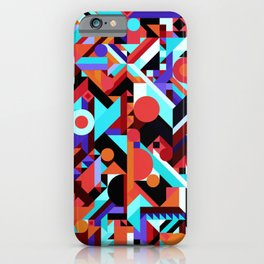 CRAZY CHAOS ABSTRACT GEOMETRIC SHAPES PATTERN (ORANGE RED WHITE BLACK BLUES) iPhone Case