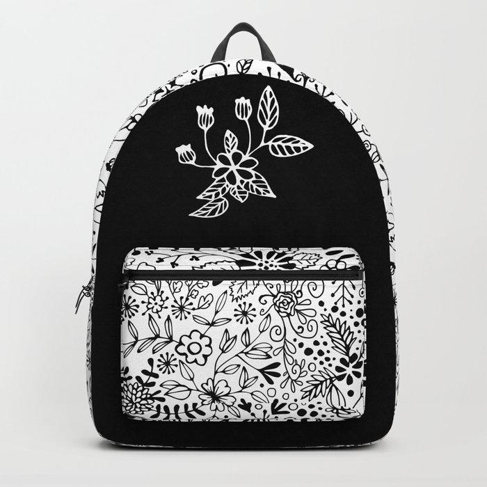 Black on White Florals Backpack