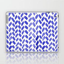 Cute watercolor knitting pattern - blue Laptop & iPad Skin