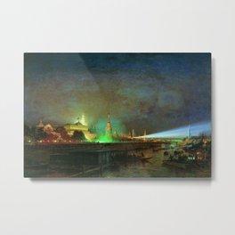'Illumination Of The Kremlin' Landscape Painting by Aleksei Petrovich Bogolyubov Metal Print