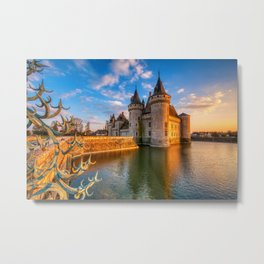 Castle Sully sur Loire at sunset, Loire valley, France Metal Print