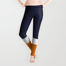 Navy Blue Yellow Ochre Abstract Minimalist Rothko Colorful Mid Century Color Block Pattern Leggings