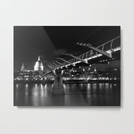 St Paul's Cathedral and Millennium Bridge,London Metal Print