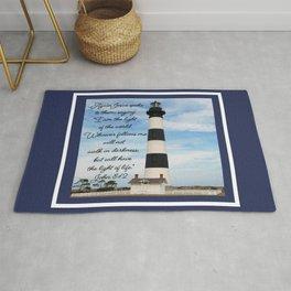 Bodie Island Lighthouse-North Carolina -With John 8:12 Rug