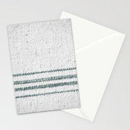 Farmhouse Grain Sack Camp Green Stripes Stationery Cards