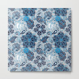 Paisley Distressed Blue and Navy Metal Print