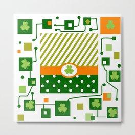 green Patrick, clover, schema Metal Print
