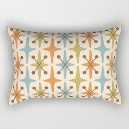 Mid Century Modern Abstract Star Pattern 441 Orange Brown Blue Olive Green Rectangular Pillow
