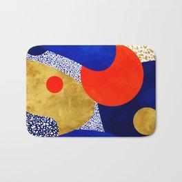Terrazzo galaxy blue night yellow gold orange Bath Mat
