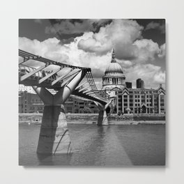 LONDON Millennium Bridge and St Paul's Cathedral | Monochrome Metal Print