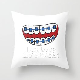 Braces Funny metal mouth sexy tooth dentist brace 3 Throw Pillow